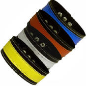 Black Leather Armband With Colorful Stripes